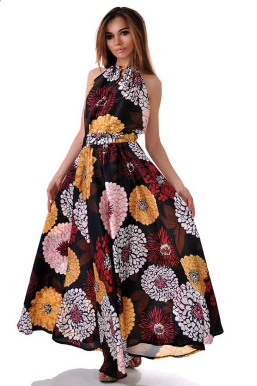 супер яка лятна рокля на цветя от сатен и гол гръб адикт бутик