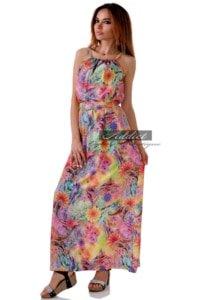 дълга шарена лятна рокля с тънки презрамки от адикт