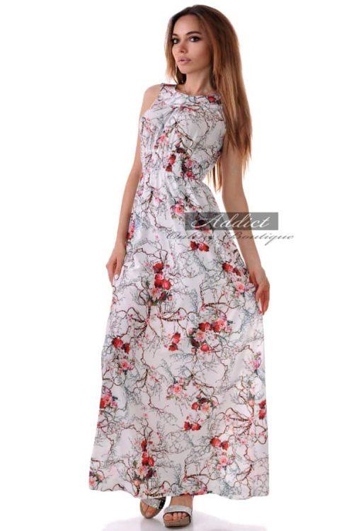 дълга лятна бяла рокля с еластичен колан