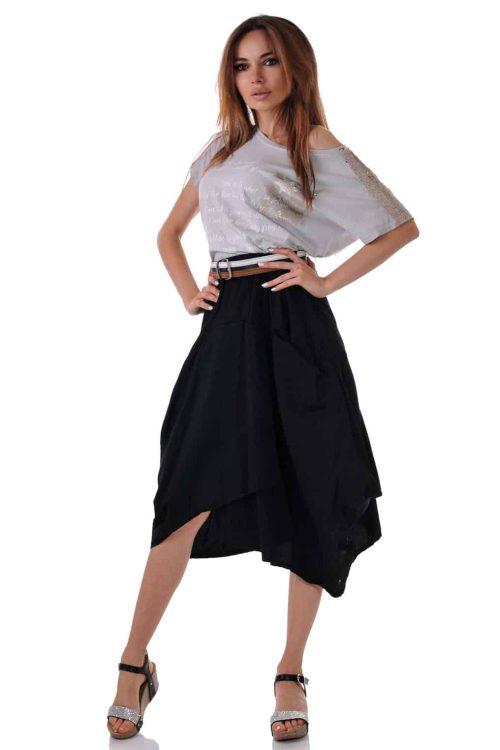 къса черна пола с джобове лятна