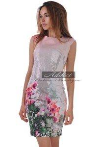 къса лятна рокля без ръкав с щампа орхидея