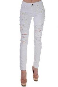 летни бели дънки от памук накъсани с бродерия
