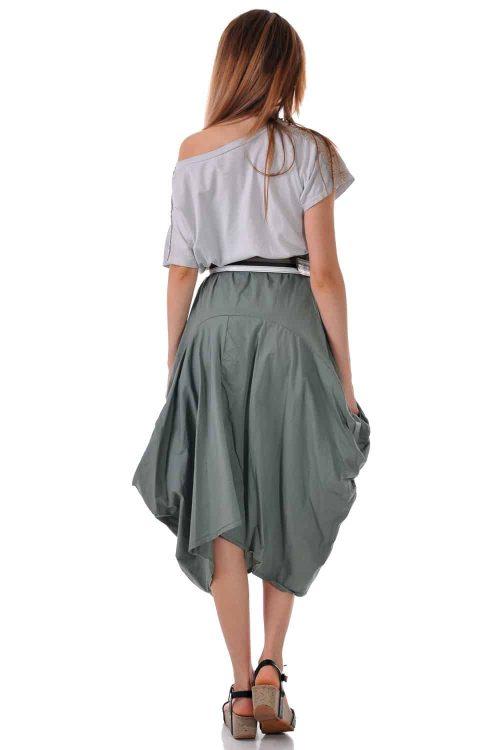 лятна рокля асиметричан тъмно зелена с джобове