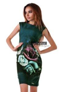рокля с принт на рози в тъмно зелен десен