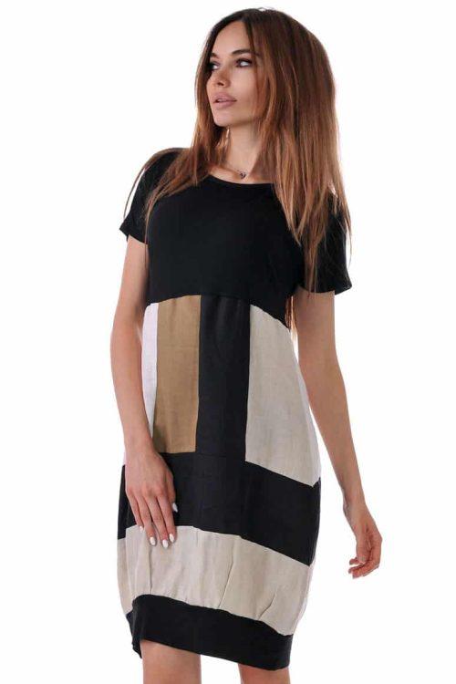 свободна ленена рокля лятна адикт бутик в четири цвята