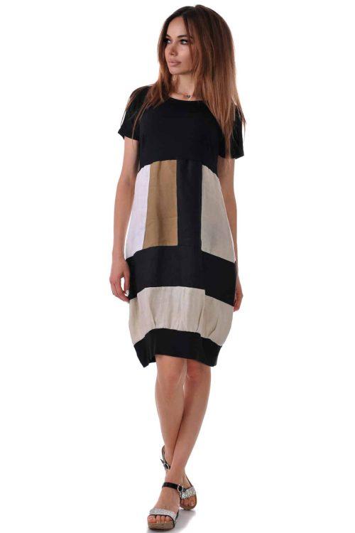 свободна ленена рокля лятна адикт бутик