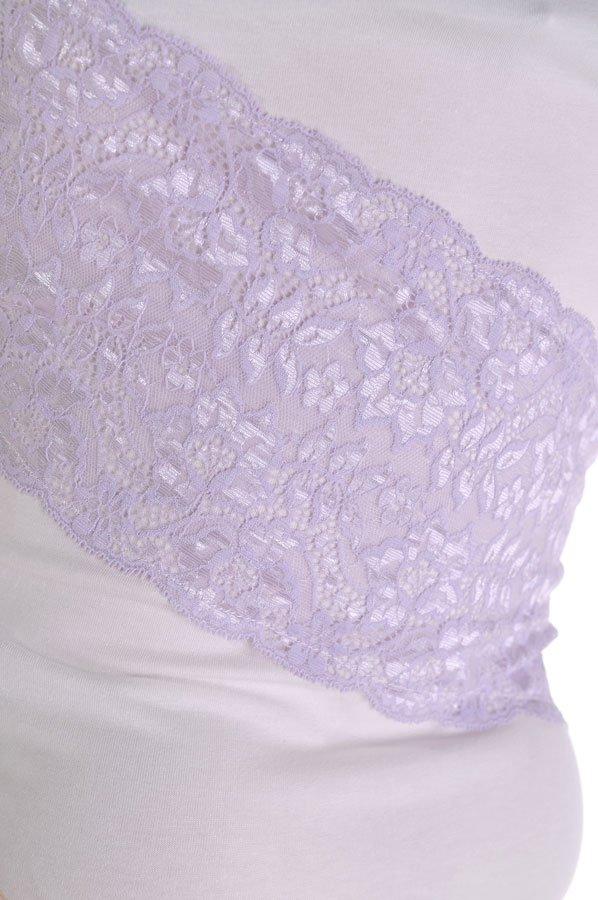 бяла тениска с лилава дантела и къс ръкав адикт