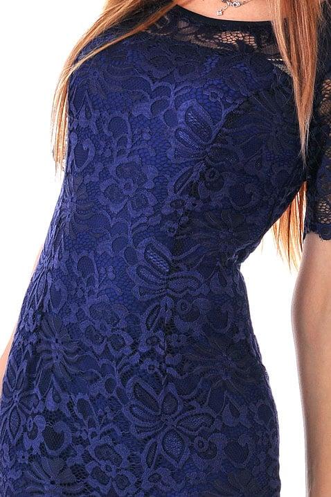 синя дантелена рокля с 3/4 рукави адикт