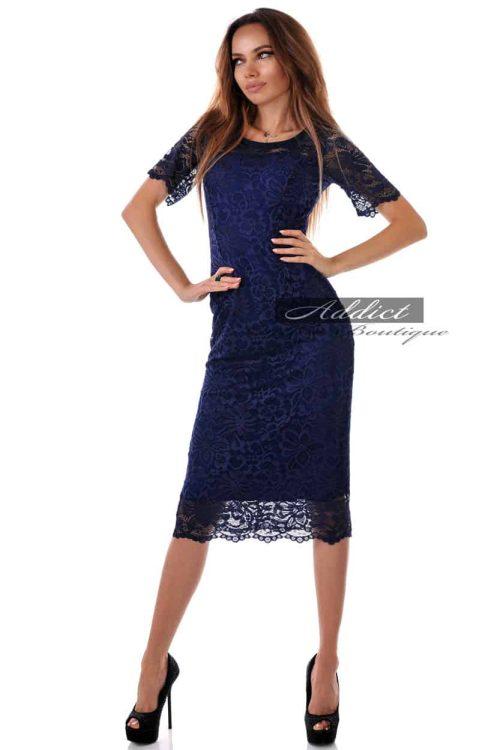 дантелена синя рокля с 3/4 ръкави адикт