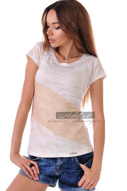 златиста лятна тениска с дантела адикт