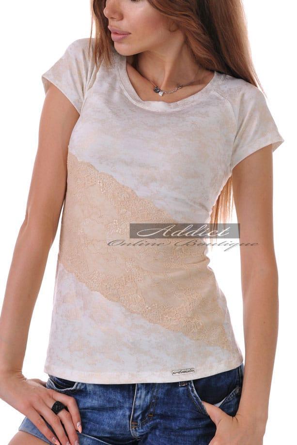 златиста тениска с дантела адикт бутик