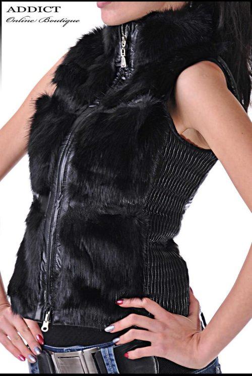 черен пухен елек с кожа