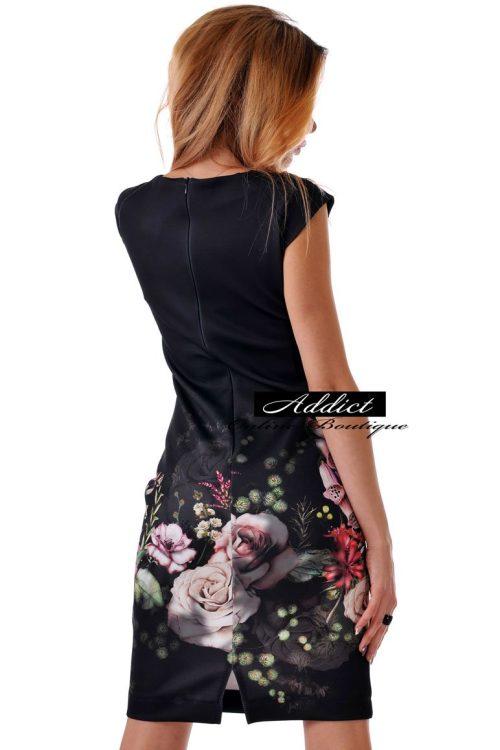 рокля черна къса на рози адикт