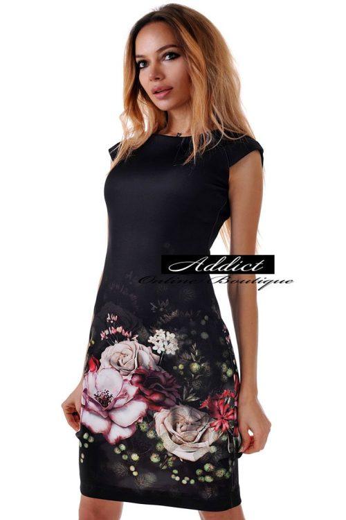 рокля черна къса с рози