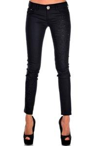 черен панталон еластичен с бродерия