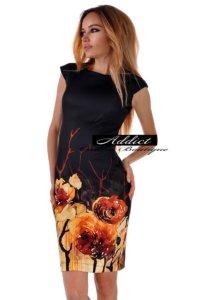 черна рокля с огнени цветя