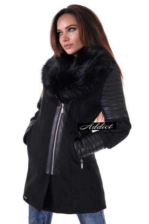 палто черно от кашмир и пух адикт