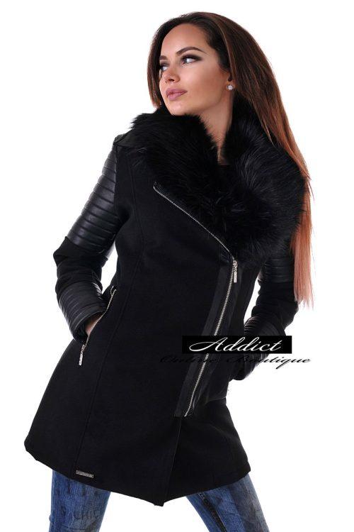 елегантно палто черно от кашмир