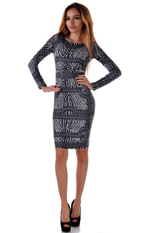 черна леопардова рокля еластична от мохер и панук