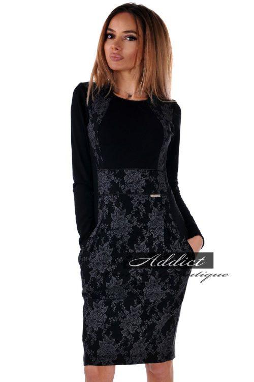 българска рокля на сиви цветя