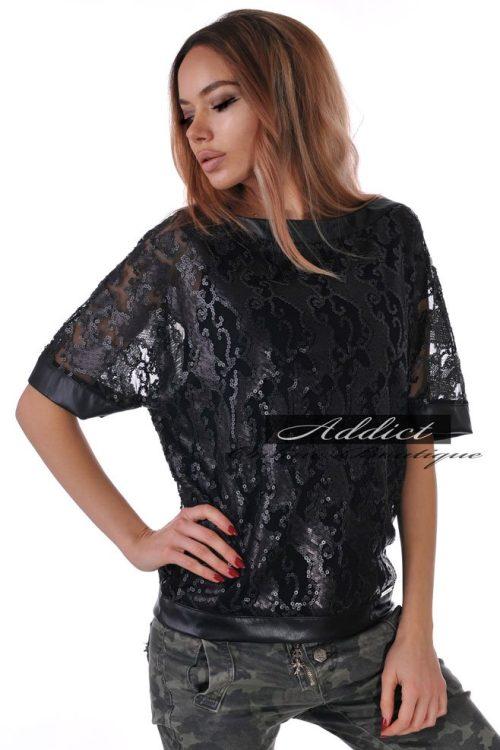 черна блуза с пайети дамска