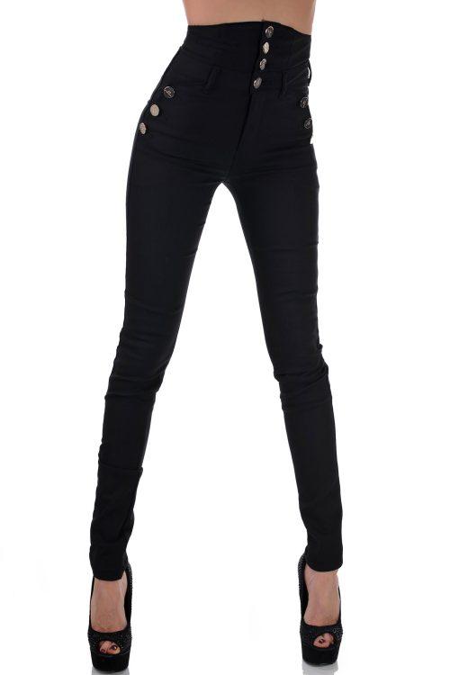 дамски панталон с висока талия черен