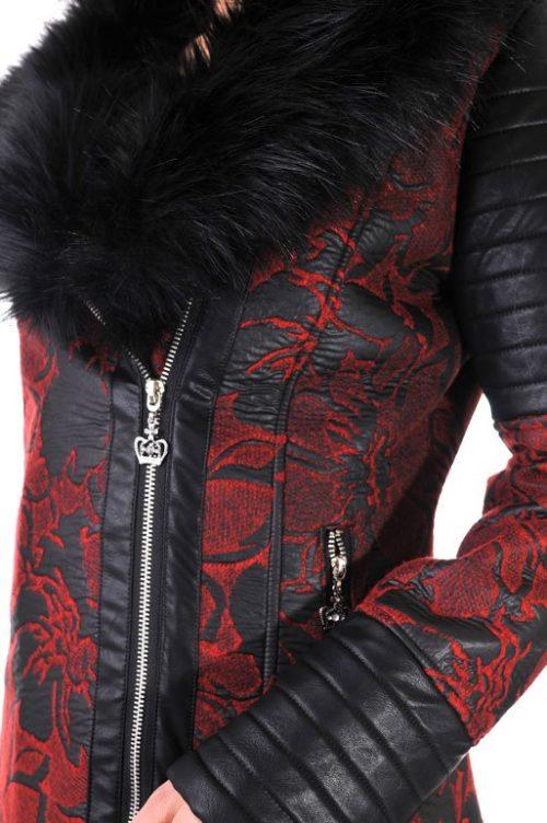 дамско зимно палто с яка еко кожа