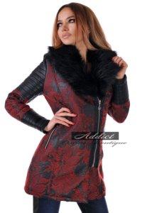 дамско палто зимно българско бордо