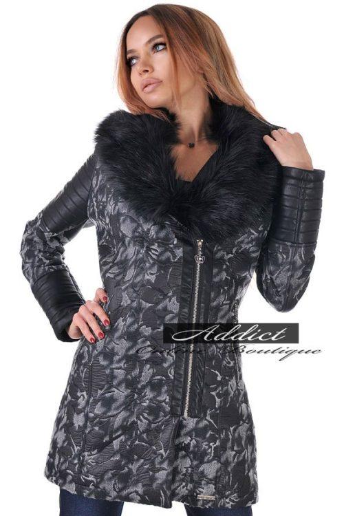 палто дамско зимно сиво с вата