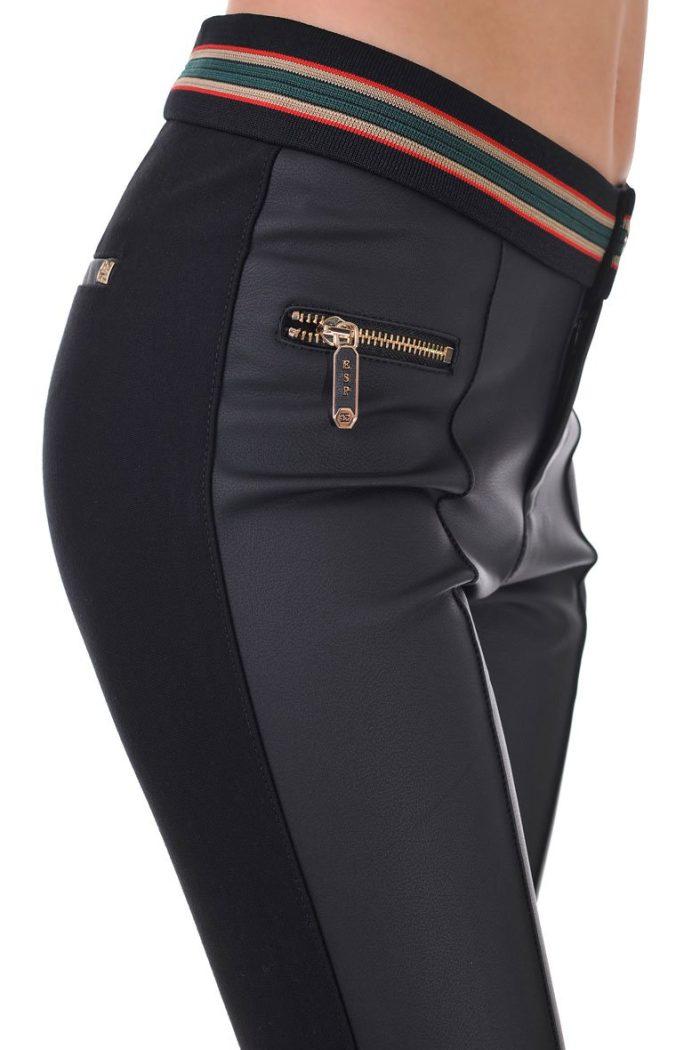 дамски панталон с предница от еко кожа