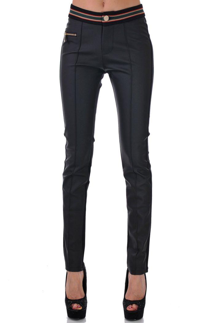 дамски панталон черен с еко кожа
