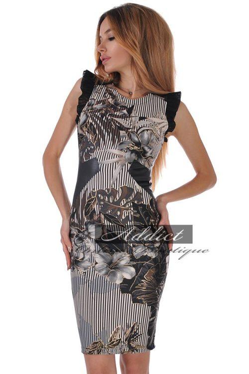 рокля със златни цветя и кожа