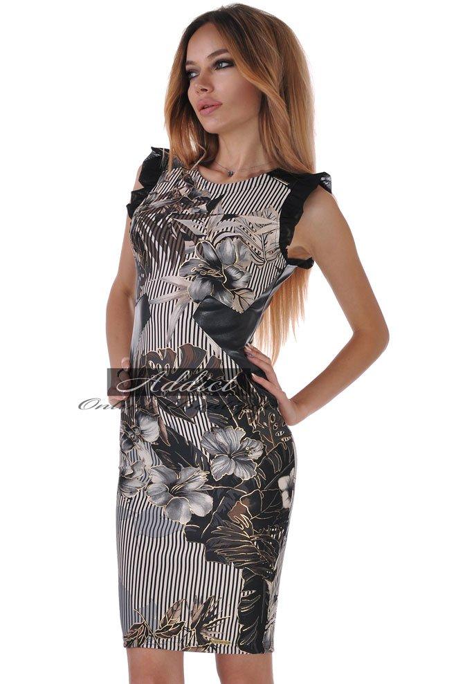 рокля с еко кожа по тялото