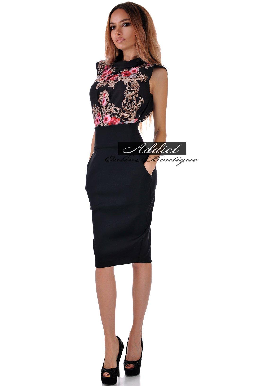 рокля на орнаменти и черна долница
