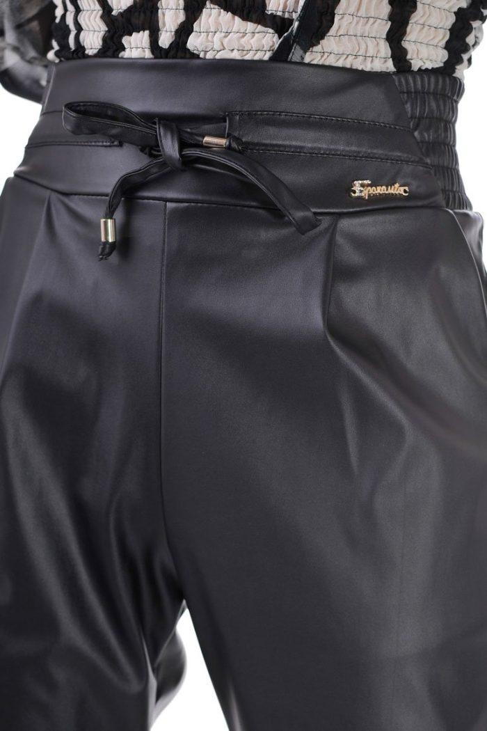 панталон черен дамски кожен