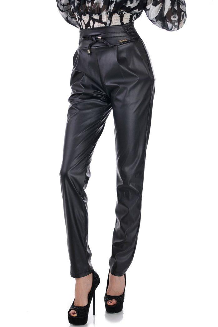 дамски панталон черен кожен