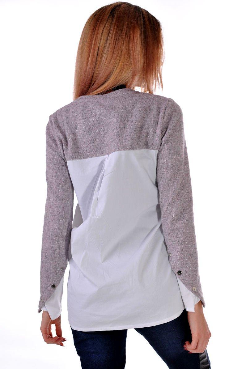 блуза с ракав цвят пудра
