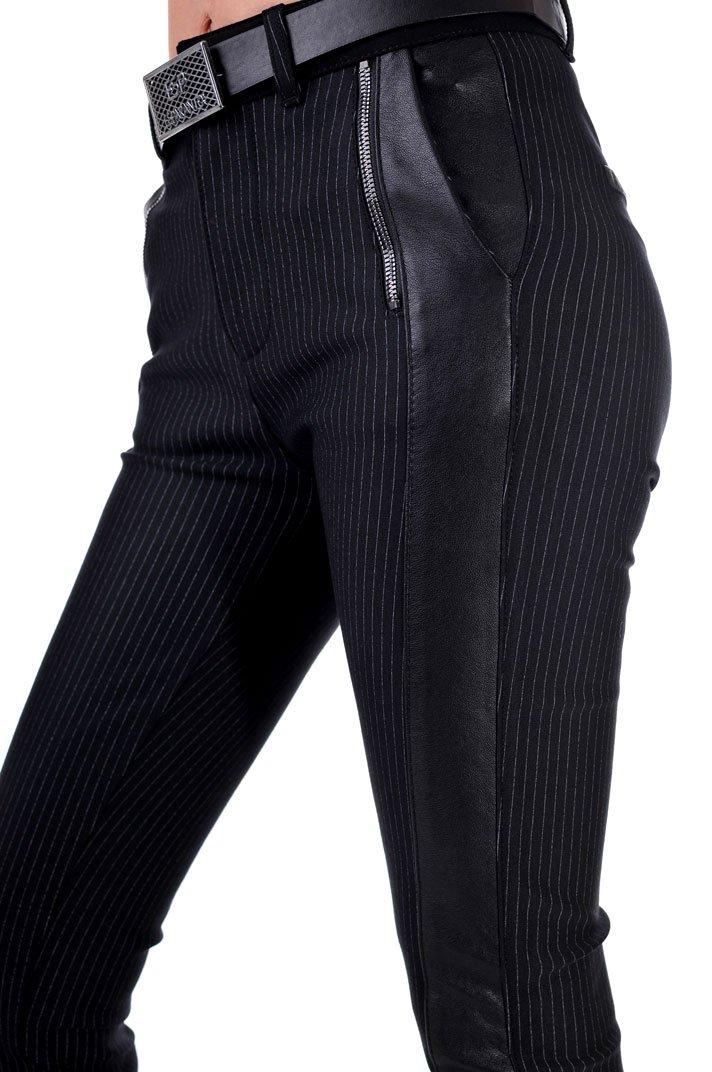 дамски панталон с кант черен