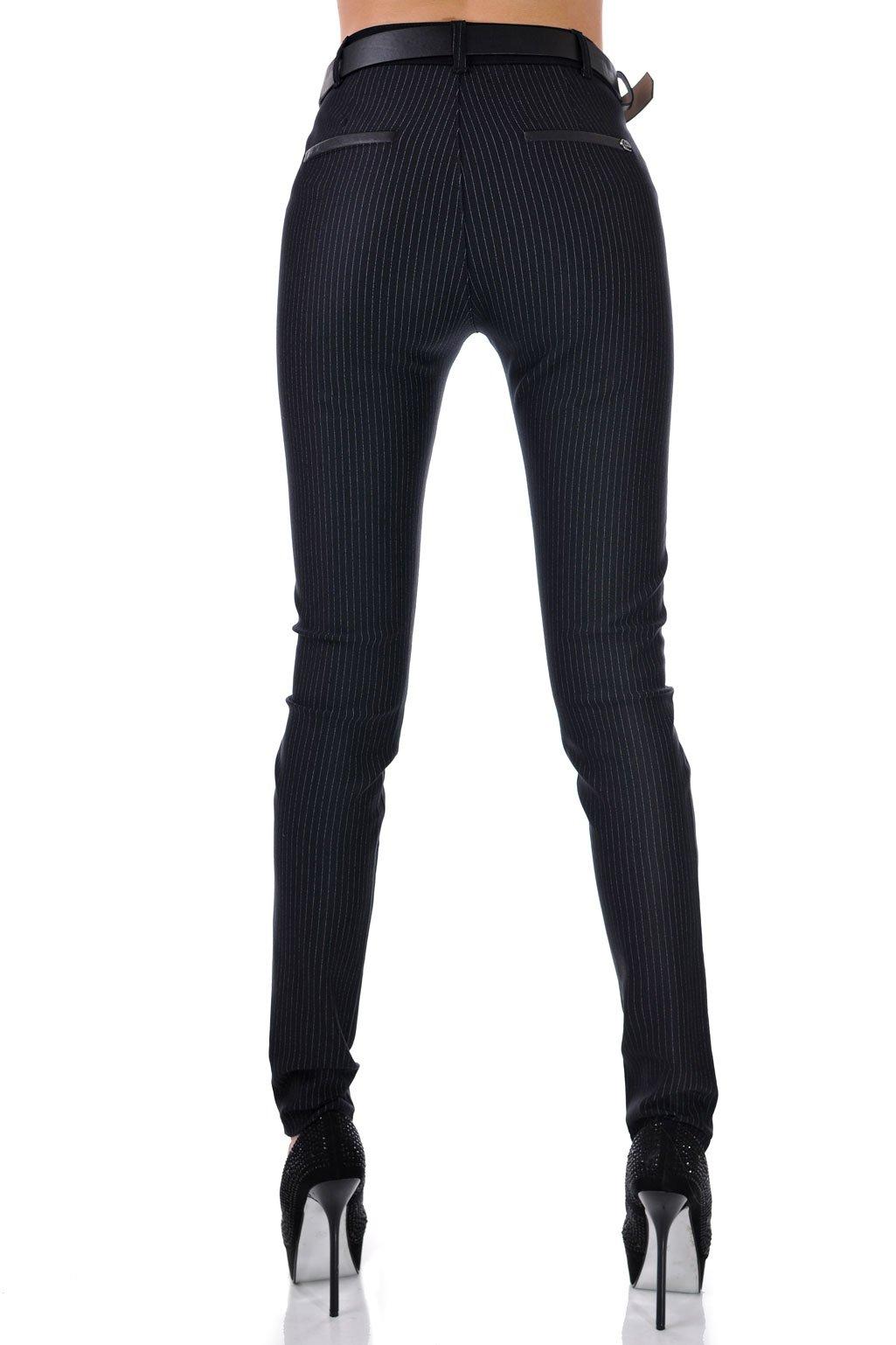 панталон дамски черен с кант и колан