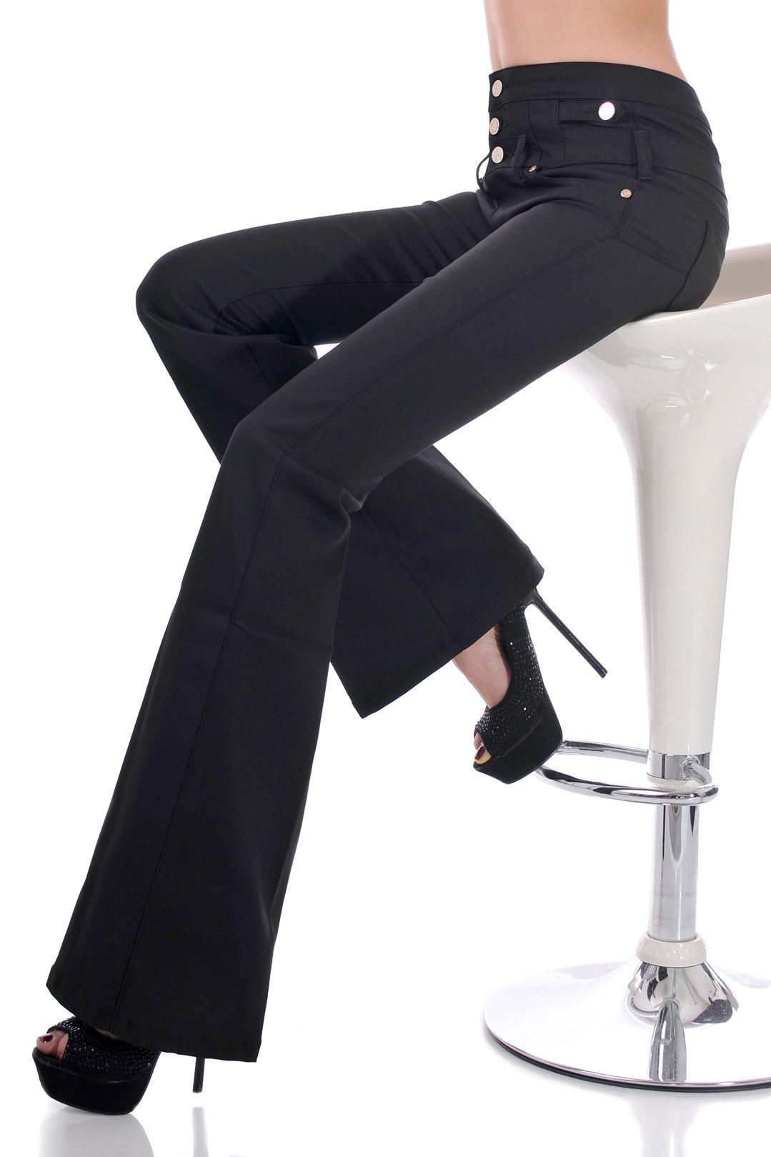 дамски черен панталон висока талия