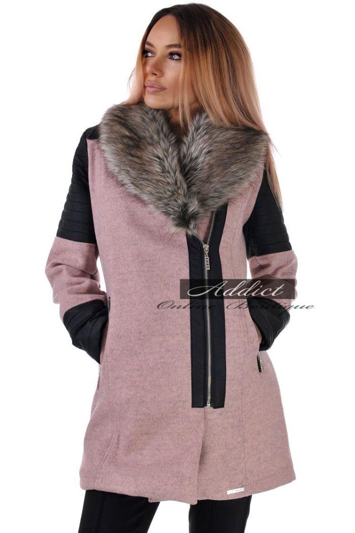 зимно палто розово