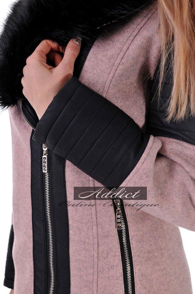 розово палто с цип и екокожа адикт