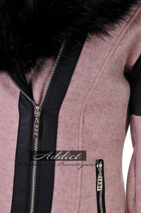 палто кашмир и екокожа розово