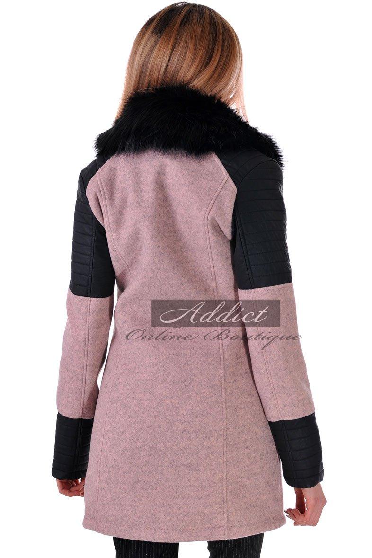 палто от кашмир и екокожа