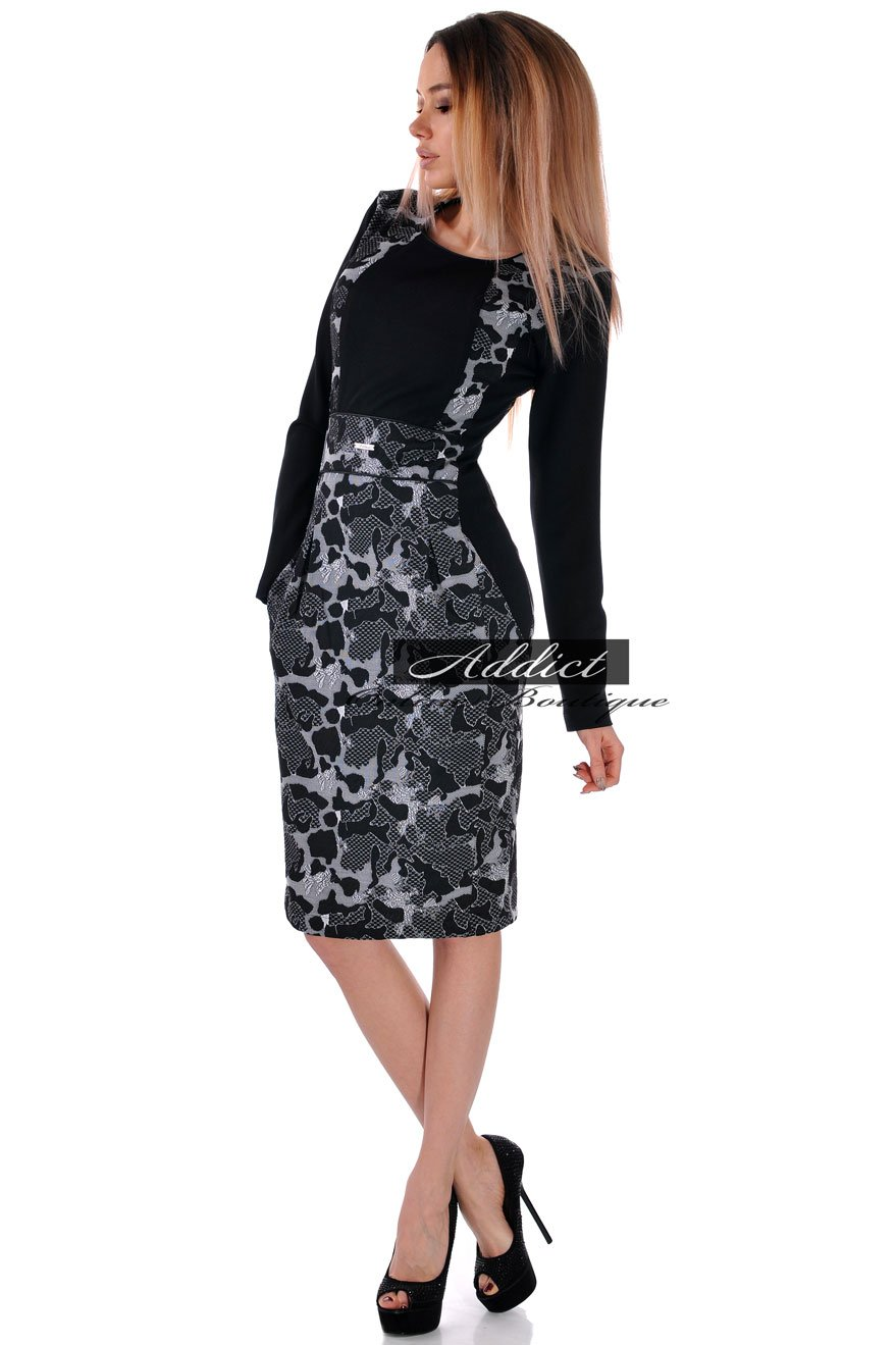 рокля в черно и бяло адикт