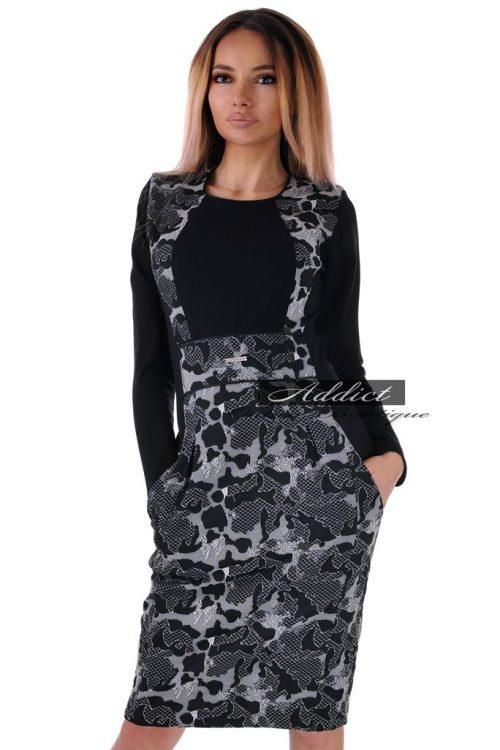 рокля черна зимна с дълъг ръкав