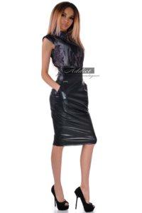 рокля от кожа и плат без ръкав българска