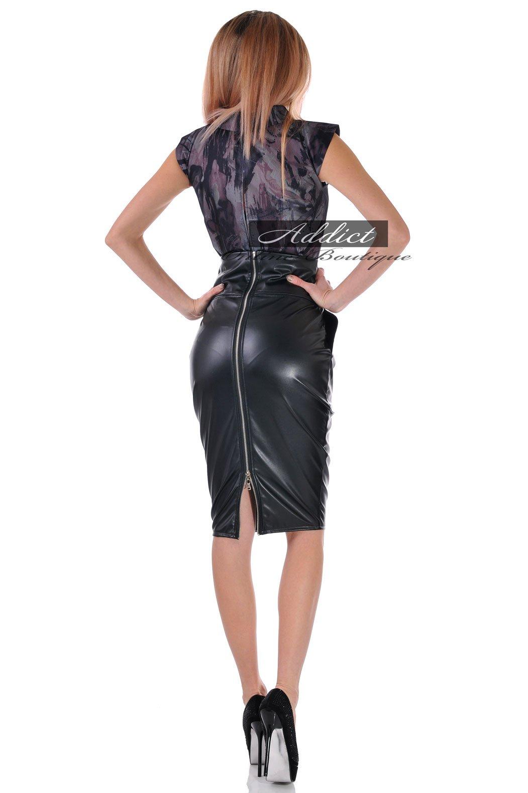 българска рокля от плат и еко кожа българска