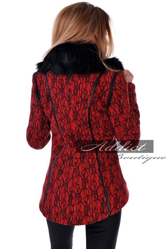 палто дамско червено адикт