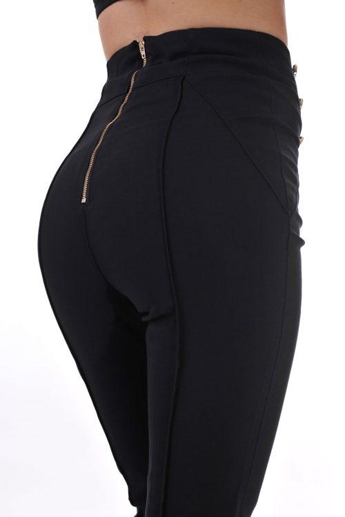 панталон черен висока талия дамски адикт